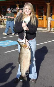Leah Johnson caught this new North Carolina state record rainbow trout in the Horsepasture River on January 28.