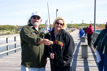 Connie Fulford, Supply, was one of the participants in the 2006 WAIT. After class on Saturday, she had lots of fun Sunday on Yaupon Pier catching many fish like this small sand perch.