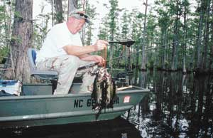 Alvin Tatum caught a nice stringer of largemouth bass at Rhodes Pond by using floating plastic worms. Tatum said largemouths in the lake prefer pink and yellow floating worms.