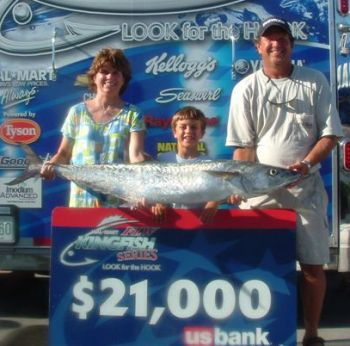 (L-R) Michelle, Cully and Eddie Cameron, with the 38-pound, 2-ounce, tournament winning king mackerel Eddie and Michelle landed during the second NC Division FLW Kingfish Series Tournament in Southport.