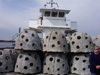 The FishAmerica Foundation has grant monies available for sportfish restoration projects, such as placing these reef balls on artificial reefs.