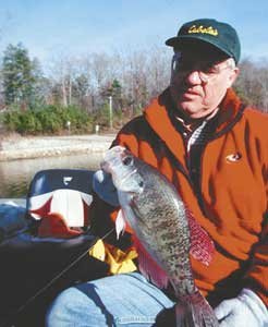 Small crappie jigs or small lead-head jigs tipped with live minnows are good choices for winter crappies.