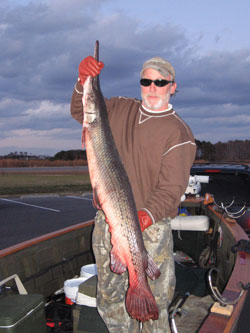 Kelly Williams state-record longnose gar was caught in January in the ICW near Coinjock.