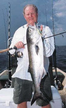 Ned Connelly with a big bluefish that struck a Rat-L-Trap at Carolina Beach Inlet.