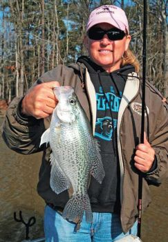 This crappie didn�t need to be measured, but slabs at Jordan Lake have to be at least 10 inches long to be creeled, and there�s a 20-fish daily limit.