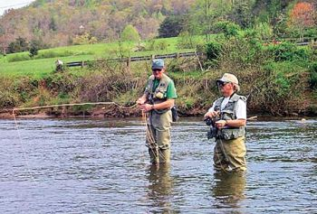 Trout fishermen enjoy a stretch of the Tuckasegee River managed under delayed-harvest regulations.