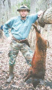 Dennis Hardwick took this wild hog with a .44-Magnum revolver last season in Dillon County along the Pee Dee River.