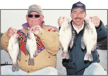 Capt. Jerry Neeley and his partner, guide Chris Nichols, show of a nice quartet of late October crappie from Lake Wylie.