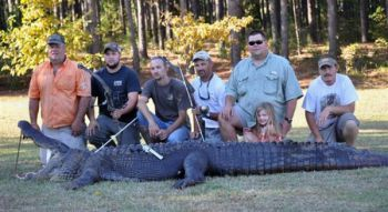 Jason Meeks and his hunting party took this 12-foot-9, 740-pound alligator in the 'borrow pit' below Wilson Dam on the Santee Cooper system.
