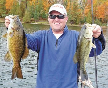 A February surprise: a smallmouth and a largemouth bass. It�s possible, if the weather cooperates.