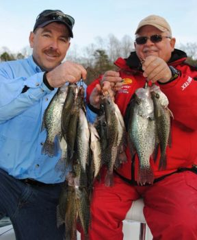 Guides Chris Nichols and Jerry Neeley are taking advantage of some unexpectedly good crappie fishing on Lake Norman.