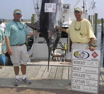 Because of legal wrangling, angler John Parks (left) and Capt. Ed Petrelli of the Carnivore are still waiting for a huge chunk of prize money