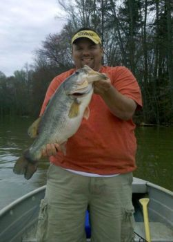 Crappie fisherman Alvin Williams held on against this bass using a crappie jig and an ultra-light rod