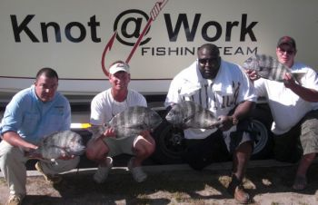George Morris, Capt. Robert Olsen, Sean Nelson and Joel Terrebone all placed in the top 10 during the Charleston Inshore Anglers annual sheepshead tournament held April 19.