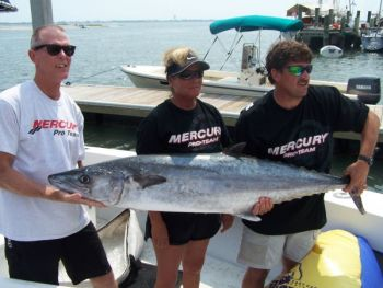 Skip Conklin (left), Sandy Conklin (center) and Jay Russell with their 60.30-pound king mackerel that won the Raleigh Salt Water Sportfishing Club King Mackerel Tournament on July 30.