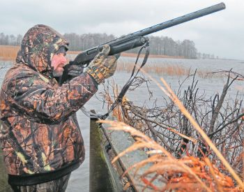 Ice and sleet pelt down during a permit-only waterfowl hunt at Lake Mattamuskeet.