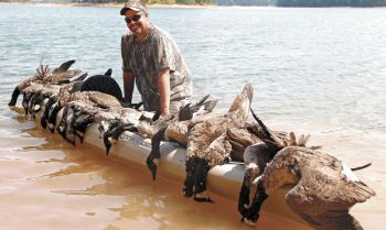 Donnie Pearson of Greer shows the kind of action a kayak- or canoe-bound hunter can expect during the early goose season.