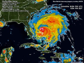 Hurricane Irene is massive, and making a beeline for the North Carolina coast. That's prompting mass evacuations of residents and boats, particularly from Atlantic Beach northward where the Category 3 storm is expected to pound the hardest.