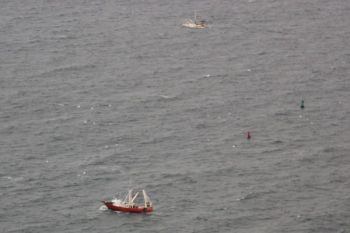 Two trawl boats work the ocean Feb. 3, 2011, with dead floating stripers in the waters near them.
