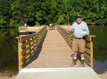 A new pier will make it easier for those in wheelchairs and children to fish Lake Lindley.