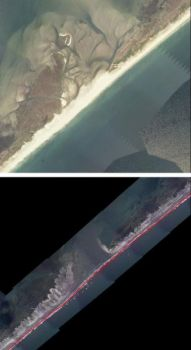 Portsmouth Island will likely be closed well into next spring because of damage caused by Hurricane Irene. The upper image shows the beach before the storm, while the lower photo was taken after the hurricane.
