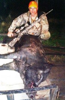 This wild hog killed in early December by Jay Bailey of Black Springs bottomed out a set of 400-pound scales.