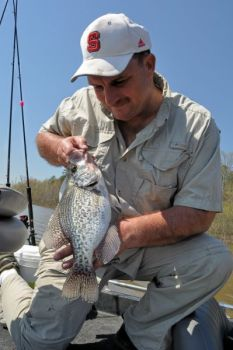 February crappie fishing can be great, and the pressure is usually low.