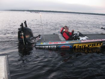 Bassmaster Elite Series rookie Kyle Fox launches for the first day of competition on the St. Johns River.