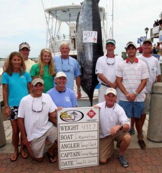 The Inspiration's 437.7-pound blue marlin took over second place in the Big Rock Blue Marlin Tournament on Tuesday.