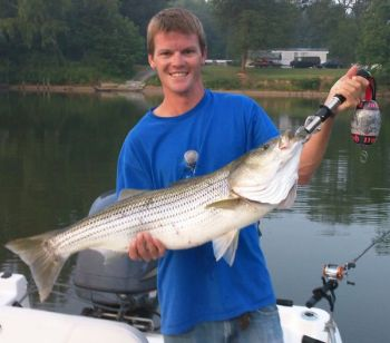 The stripers will bite on Lake Hickory even in the hottest month on the calendar.