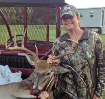 Bonnie Collier took this 12-point, 21 1/2-inch wide buck near her home in Henderson.