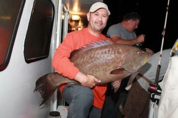 Toby Grantham of Raleigh caught this 30-pound scamp grouper, a potential state record, on a 48-hour offshore bottom-fishing trip out of Morehead City this week.