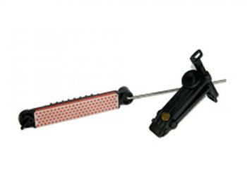A knife clamp and whetstone guide make DMT's The Aligner knife-sharpening system tough to beat.