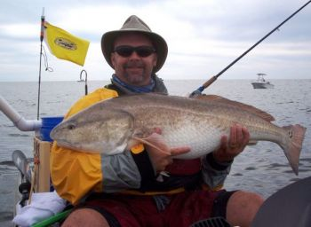 Kayak-fishing guide Mark Patterson caught this big red drum around Yaupon Beach.