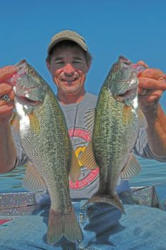 Guide Joel Richardson of Kernersville has been working over nice largemouth bass like these on Belews Lake.