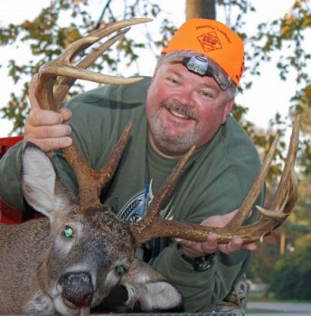 Hunting with a slug-loaded shotgun from a Martin County ground blind, Brian Thomas downed this 156 1/8-inch white-tail buck on Veterans Day.