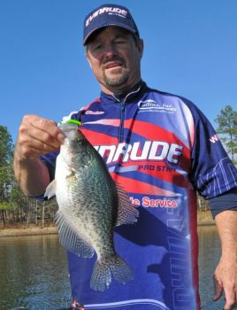 Guide Freddie Sinclair has been catching plenty of nice crappie in deep water at Shearon Harris Lake.