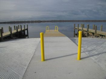 Sutton Lake's revamped access area includes two new boat ramps and a floating dock between them.