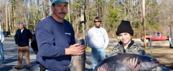 Eric and Dylan Fincher of Mount Pleasant, along with Mike Chandler, won the Feb. 9 NCCATS tournament on Lake Tillery.
