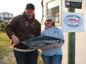 David and Nicole Dick of Oak Ridge caught this 36-pound albacore tuna -- an unusual catch in waters offshore of North Carolina -- last weekend on a trip out of Atlantic Beach to the Big Rock.