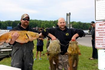 Justin Barger and Brandon Miller caught three flathead catfish weighing 122 pounds to win the May 26 NCCATS tournament on High Rock Lake.