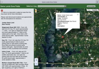 The N.C. Wildlife Resources Commission's Website has directions to and maps of public dove fields around the state.