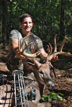 Aaron Bates' huge non-typical buck from Anson County, killed on Saturday, Sept. 21, gross-scored between 180 and 190 inches.