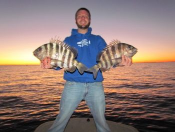 Some of the best sheepshead fishing of any year is on nearshore reefs during the winter.