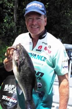 A Mop Jig and trailer, in crawfish colors, is a great combination for a big March largemouth bass.