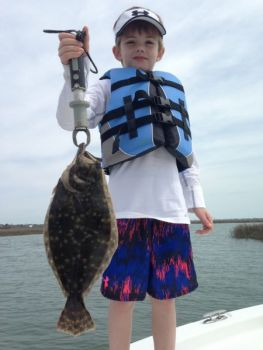 Flounder have started biting on low tide in deep holes in the backs of the creeks that feed Murrells Inlet.