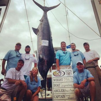 Morehead City-based Inspiration, captained by Casey Wagner, brought a 753.4-pound blue marlin to the scales Monday to lead the Big Rock Blue Marlin tournament.