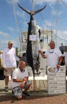 The Ava D's 491.4-pound blue marlin, caught Thursday, has taken over third place in the Big Rock Blue Marlin Tournament. Two days of fishing remain.