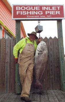 A Cape Carteret fishermen broke off one big fish before hooking an 82-pound whopper black drum off Bogue Island Pier last week.