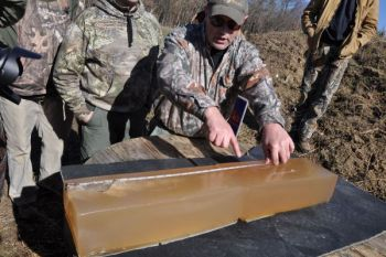Remington execs used gelatin blocks to examine the penetration of their new Hog Hammer ammunition.